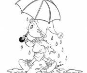 Coloring pages Humorous girl and umbrella