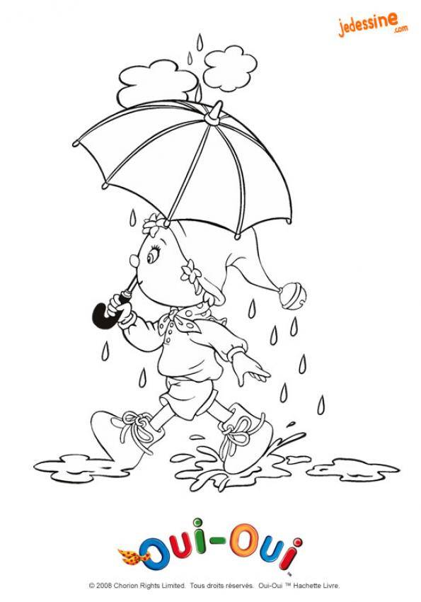 Free coloring and drawings Humorous girl and umbrella Coloring page