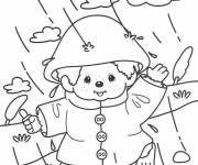 Free coloring and drawings Little bear having fun in the rain Coloring page