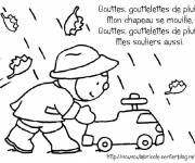 Coloring pages Little Child and Rain Drops
