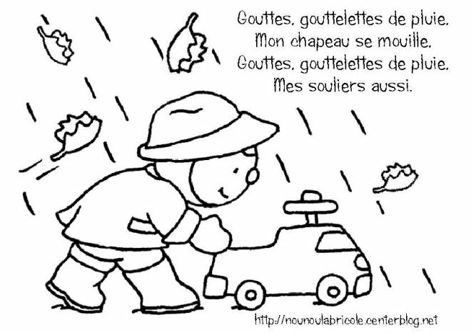 Free coloring and drawings Little Child and Rain Drops Coloring page