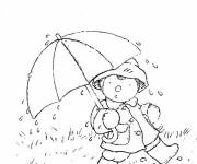Coloring pages Little child walking in the rain