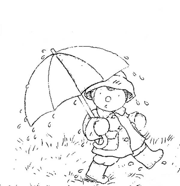 Free coloring and drawings Little child walking in the rain Coloring page