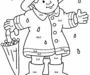 Free coloring and drawings Little girl carries her umbrella Coloring page