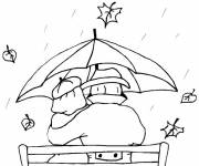 Coloring pages Lovers in the Rain