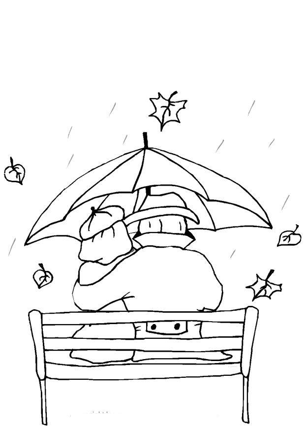 Free coloring and drawings Lovers in the Rain Coloring page
