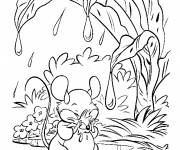 Free coloring and drawings Mouse protects from rain Coloring page