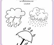 Free coloring and drawings Rain and Umbrella in winter Coloring page