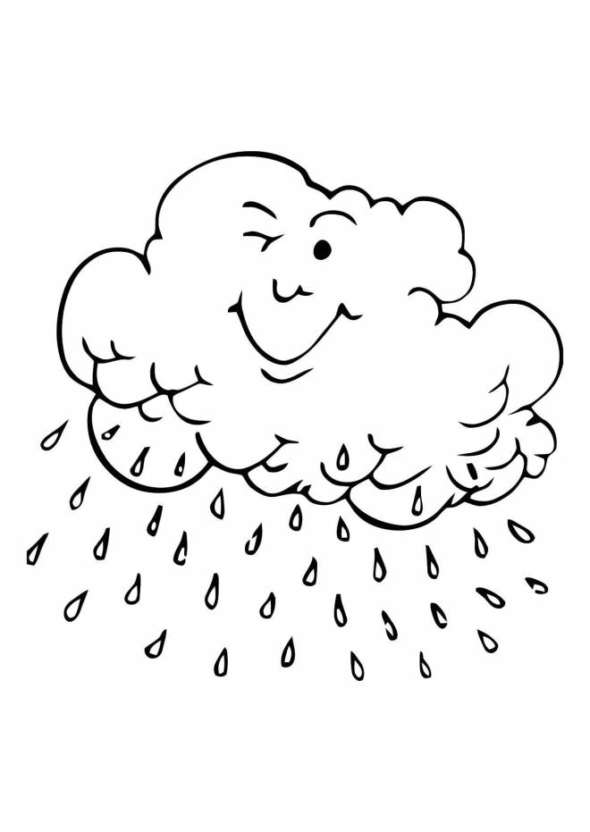Free coloring and drawings Smiling rain Coloring page