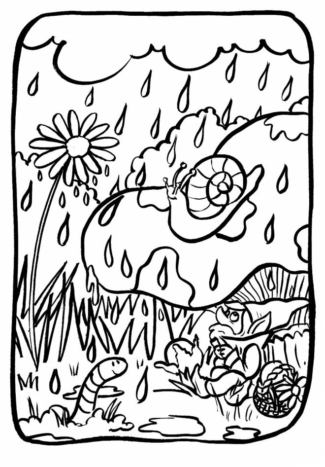 Free coloring and drawings Snail and Rain Coloring page