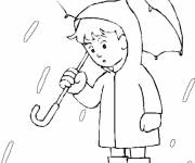 Coloring pages Stylized Child and Rain