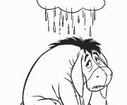 Coloring pages Unhappy donkey in the rain