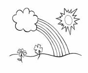 Free coloring and drawings Rainbow and clouds Coloring page