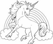 Free coloring and drawings Rainbow and Unicorn Coloring page