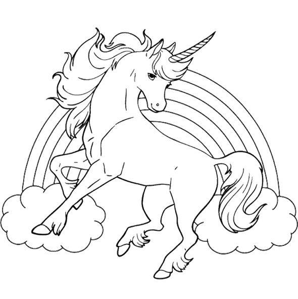 Printable Rainbow and Unicorn free sheets coloring page
