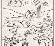 Coloring pages Rainbow and Unicorn online