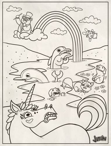 Free coloring and drawings Rainbow and Unicorn online Coloring page