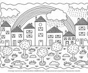 Coloring pages Rainbow in the sky