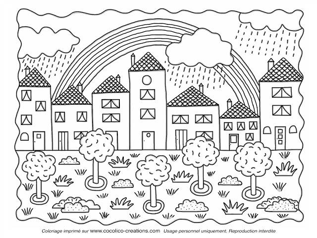 Free coloring and drawings Rainbow in the sky Coloring page