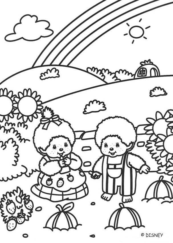 Free coloring and drawings Rainbow landscape Coloring page