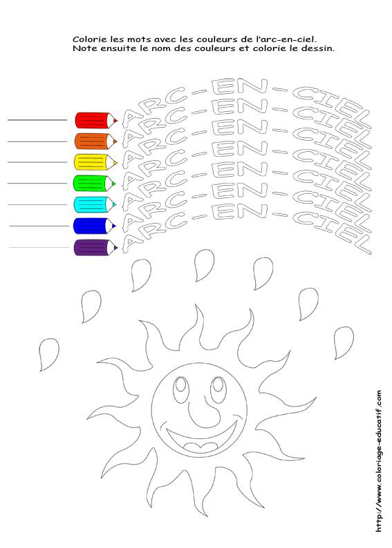 Free coloring and drawings The colors of the rainbow Coloring page