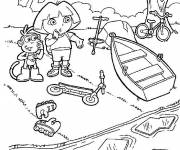 Coloring pages Dora and The River