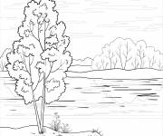 Coloring pages River and Nature