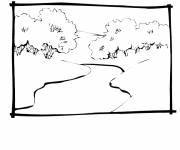 Coloring pages River and trees