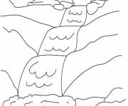Coloring pages River and Waterfall