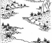 Coloring pages River in black and white