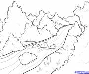 Coloring pages River in the forest