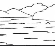 Coloring pages simple lake and mountains