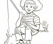 Coloring pages The little fisherman in the river