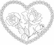 Coloring pages Rose and heart in bloom