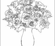 Coloring pages Roses in a vase
