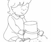 Free coloring and drawings Caillou and its Sand Castle Coloring page