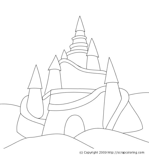 Free coloring and drawings Easy Sand Castle Coloring page