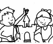Free coloring and drawings Girl and boy decorate their Sand Castle Coloring page