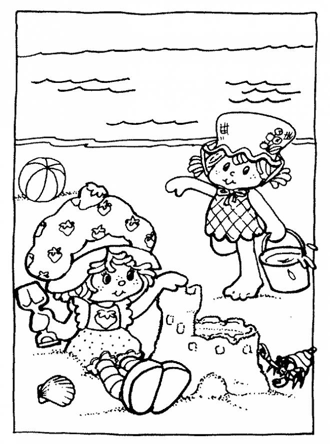 Free coloring and drawings Little girls and their Sand Castle Coloring page