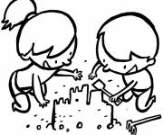 Coloring pages Sand Castle and amused children