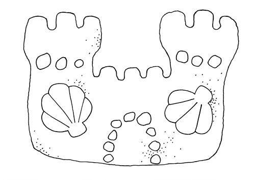 Free coloring and drawings Sand Castle decorated with Shells Coloring page