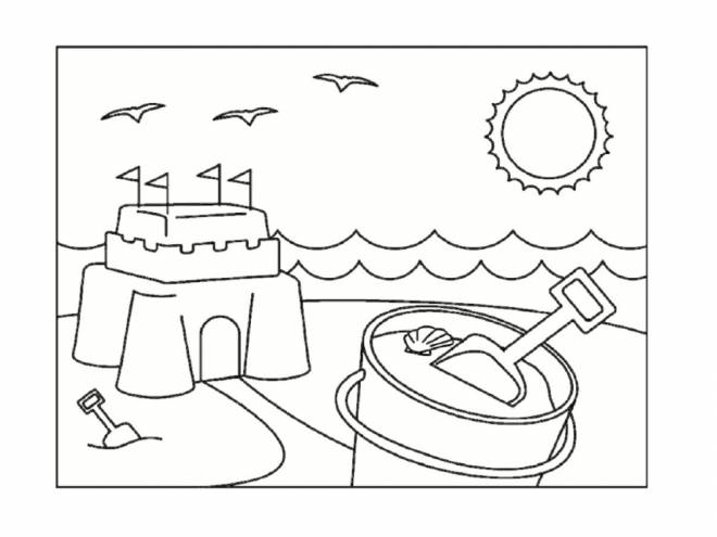 Free coloring and drawings Sand Castle for children Coloring page