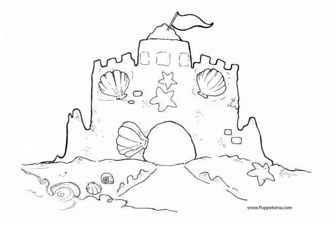 Free coloring and drawings Sand Castle for decoration Coloring page