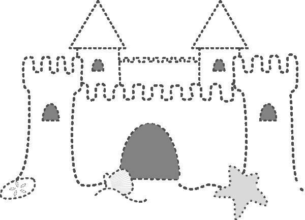 Free coloring and drawings Sand Castle in points Coloring page