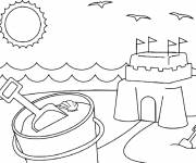 Free coloring and drawings Sand Castle in summer Coloring page