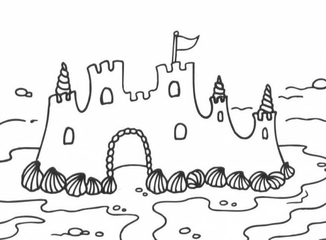 Free coloring and drawings Sand Castle on the Beach Coloring page