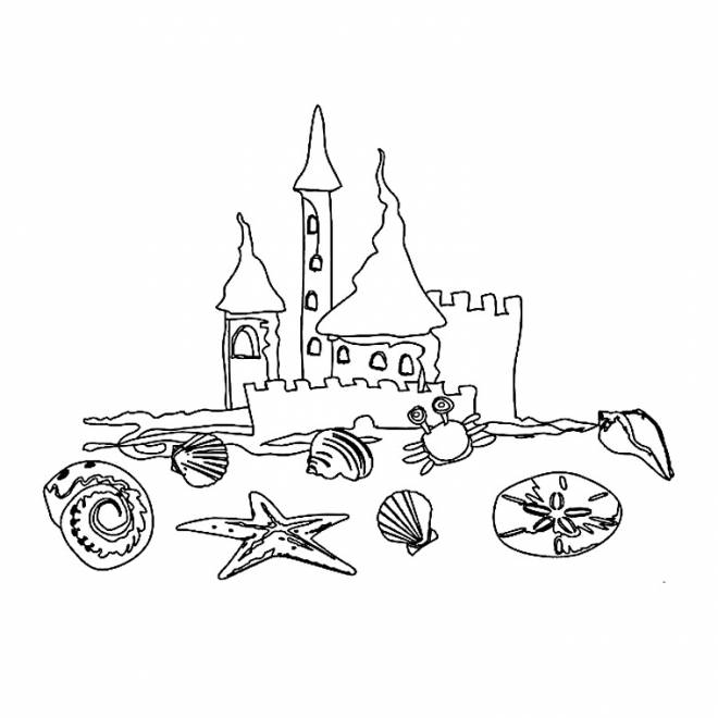 Free coloring and drawings Sand Castle Shells Coloring page