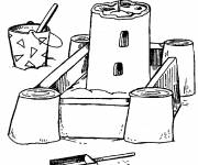 Free coloring and drawings Sand Castle to cut Coloring page