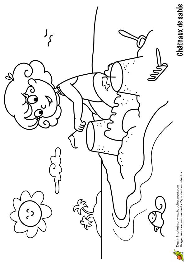 Free coloring and drawings Sand Castle under construction Coloring page