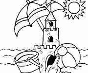 Free coloring and drawings Sand Castle under the sun Coloring page